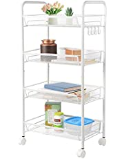 SortWise ® 4-Tier Kitchen Mesh Wire Rolling Cart Multifunction Utility Cart Kitchen Storage Cart with Wheels, Slim Slide Out Tower Rack Shelf Serving Cart, Easy Moving, White