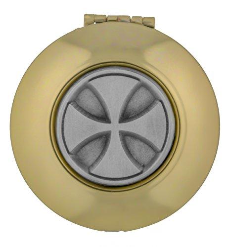 William J. Hirten Gold-Tone PYX with Inlaid Pewter Medal (Maltese - Maltese Gold Cross Tone