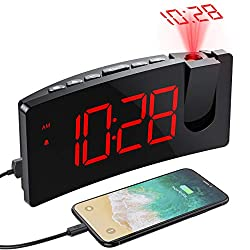 PICTEK Projection Alarm Clock, 4 Dimmer, Digital Clock with USB Phone Charger, Easy to Use, Clear Big Red Digit, 5'' LED Curved Screen, 180° Rotable, Digital Alarm Clocks for Bedrooms (Red)