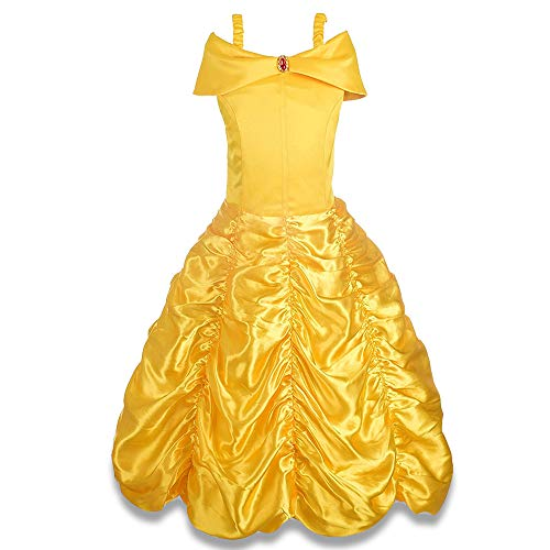 HOVE Princess Costumes for Girls 8, Belle Princess Dress Toddler Christmas Top Best Birthday Gifts for Stocking Stuff Girls Halloween Costumes Size 7-8 Dress Up Clothes for Girls 150CYF HVYF12
