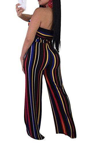Molisry Women Summer Sleeveless Tops Stripped Long Pants 2 Piece Outfits,Black-q062,Large 4