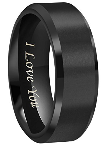 4mm/6mm/8mm Black Titanium Wedding Couple Bands Rings Men Women Matte Finish Beveled Edges Engraved