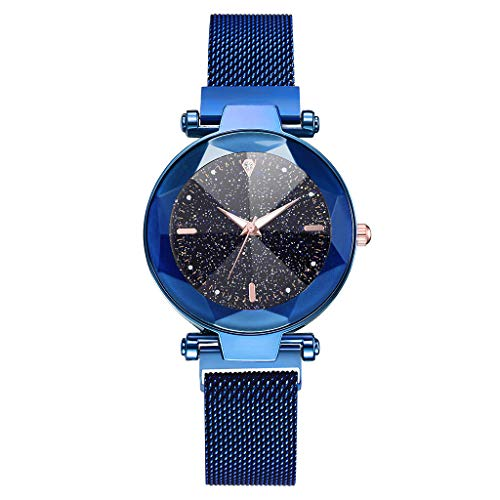 ( Orcbee  _Fashion Starry Sky Convex Glass Quartz Mesh with Magnetic Buckle Ladies Watch (Blue))