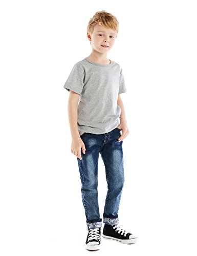 HOLLAGLEE Premium Skinny Boys Jeans Slim Fit Pants For Toddlers Kids and Teens (6-7 Years, Nice Dk)