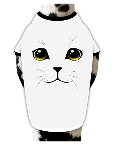 TooLoud Yellow Amber-Eyed Cute Cat Face Cotton Dog Shirt White with Black XL ()