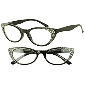 Women's Black Elegant Rx Optical Prescription Readers +3.00 Strength Glasses Rhinestone Cateyes Frame