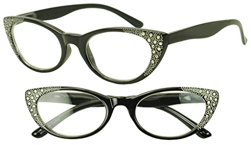 Womens Round 50s Cat Eye Style Rx Optical Reading +1.25 Glasses with - Style Glasses Cat