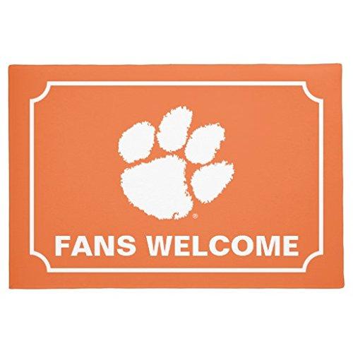 Clemson University Tiger Paw Doormat Cute Floor Mats Rug for Entrance Way Rubber Door Mats 16 x (University Tigers Floor)