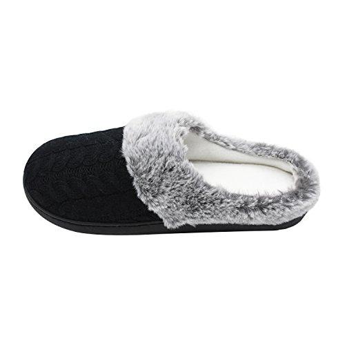 House Foam Slippers Outdoor Black1 Fur Womens Indoor Memory SANQIANWAN IBqwn1aE