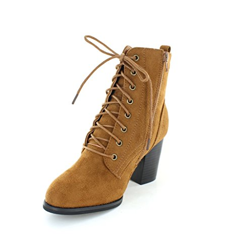 Urban Heels Women's DAHLIA-08S Faux Suede Ankle Booties - stylishcombatboots.com