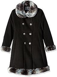 Rothschild Big Girls\' Faux Wool Skater Coat, Black, 7