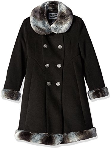 Rothschild Big Girls Faux Wool Skater Coat, Black, 14 by Rothschild