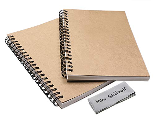Page Autograph - Mini Skater 2 Pack Wirebound Notebook Blank Travel Journal Sketch Memo Notebooks for Drawing School Supplies 100 Pages 50 Sheets (7 x 4.7 inch,Brown(Blank))