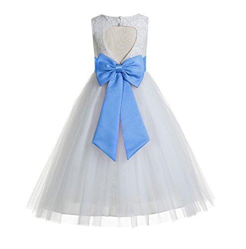 (ekidsbridal Floral Lace Heart Cutout White Flower Girl Dresses Corn Flower First Communion Dress Baptism Dresses 172T)