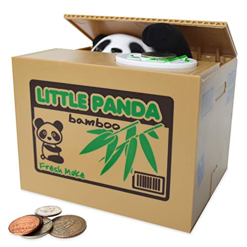 SPARK TOYS & GAMES TM - Piggy Bank - Cute Panda Bear - Steals Coins like Magic!! - Hours of Fun & a Great Gift for - Fun Bank