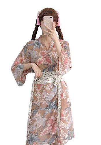 [ふーふうん] レディース 秋 トップス フイート 少女 ロング丈 シフォン カーディガン UVカツト 花柄 可愛い 薄手 コート