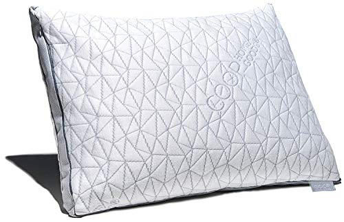 Coop Home Goods - Eden Shredded Memory Foam Pillow with Cooling Zippered Cover and Adjustable Hypoallergenic Gel Infused Memory Foam Fill - King