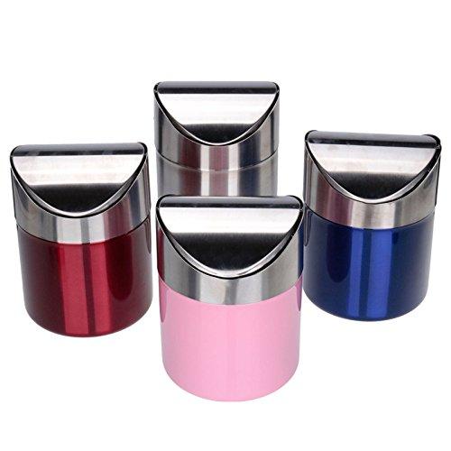 Mini Counter top Trash Can,Stainless Steel Wave cover Wastebasket Office Kitchen Desktop Trash bin (blue)