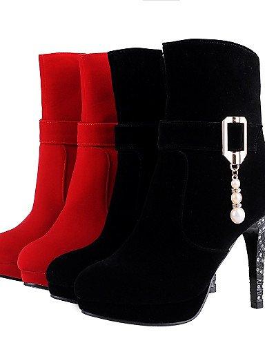 7 Eu37 5 Eu39 Negro Rojo Uk6 Mujer Botas Uk4 Redonda Vellón Red La Casual us8 Tacón A 5 5 Cn37 us6 De Vestido Moda Punta Zapatos Cn39 Xzz Stiletto Red 4pS6x6