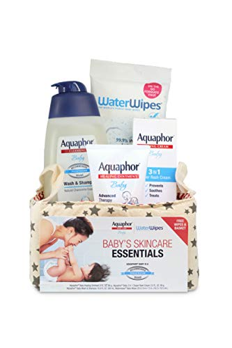 Aquaphor Baby Welcome Baby Gift Set - Free WaterWipes and Bag Included - Healing Ointment, Wash and Shampoo, 3 in 1 Diaper Rash Cream]()
