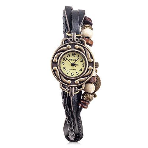 Women's Black Braided Leather Strap Watch - 7