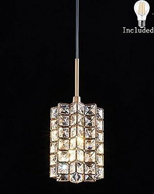 Smart Lighting-Shupregu 1-light pendant lighting, crystal mini pendant light fixtures, oil rubbed bronze pendant lamp,for Bedroom, Kitchen Island,Dimmer LED Bulb Included