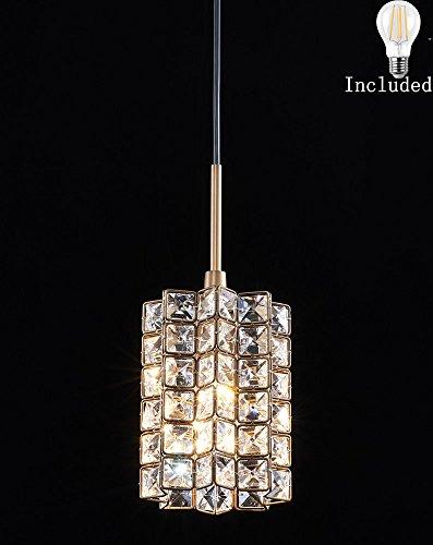 Smart Lighting-Shupregu 1-light pendant lighting, crystal mini pendant light fixtures, oil rubbed bronze pendant lamp,for Bedroom, Kitchen Island,Dimmer LED Bulb Included - Lamp Kitchen Island