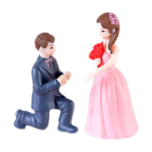 (Wansan 1 Set Miniature Bride and Groom Figurine for Home Decor Miniature Fairy Garden Decoration Ornament Girls Women Gifts)