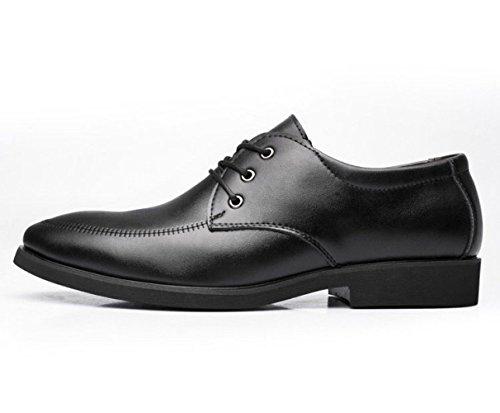 Lacets Black à en Chaussures LEDLFIE Hommes Casual Cuir Chaussures Noir pour Business OqYwqvz