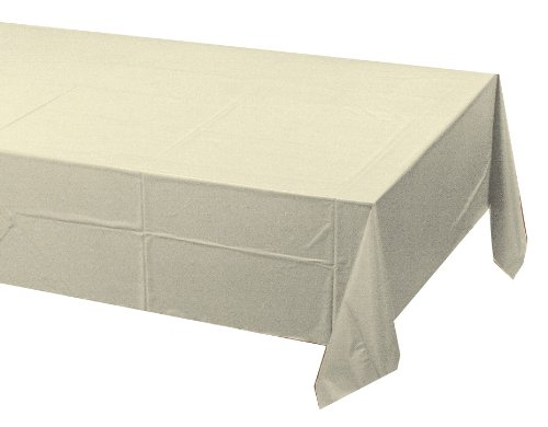 Poly Lined Tablecloths (Creative Converting Touch of Color Plastic Lined Table Cover, 54 by 108-Inch, Ivory)