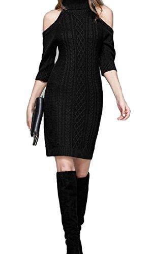 Sweater Coolred Shoulder Dresses Out Knit Elegant High Women Cut Neck Black HfH87q