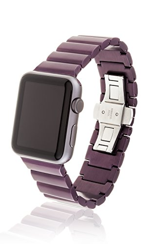 42mm JUUK Tyrian Ligero Premium Apple Watch band, made with Swiss quality using the highest grade 6061 series aluminum with a solid stainless steel butterfly deployant buckle (matte plum) by JUUK