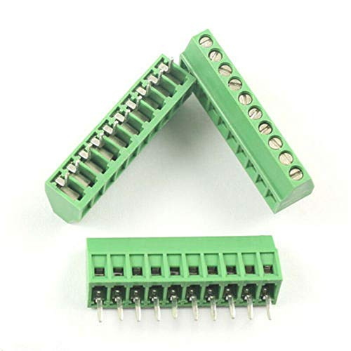 "DBParts 5pcs 10-Pin (10 Pole) Plug-in Screw Terminal Block Connector 2.54mm 0.1"" Pitch Panel PCB Mount DIY"