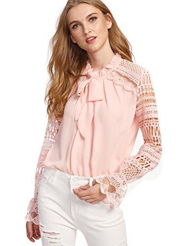 Floerns Women's Long Sleeve Bow Tie Ruffle Collar Lace Chiffon Blouse Pink XS