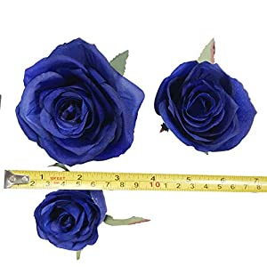 DALAMODA Artificial Silk Flowers Rose Heads DIY for Wedding Bridesmaid Bridal Bouquets Bridegroom Groom Men's Boutonniere and Corsage,Shower Party Home Decorations 24pcs (Royal Blue) 2