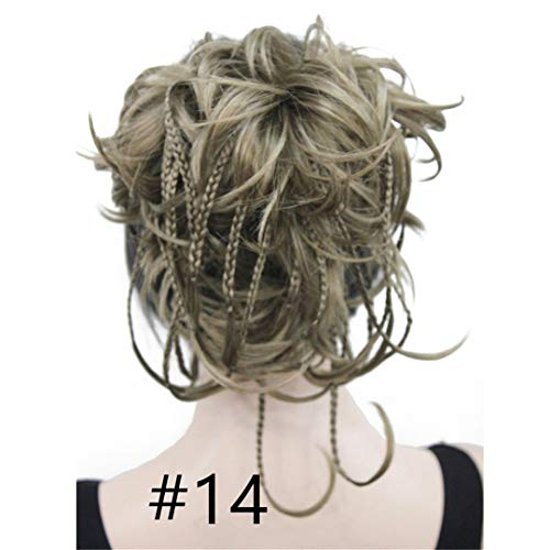 (Synthetic Short Claw Clip-On Tousled Braided Wig Ponytail Tiny Braids Bun Updo Hairpiece 15 Color #14 6Inches)