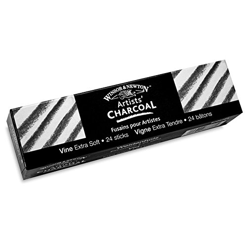 BR &Nameinternal Artists` Vine Charcoal Extra-Soft - Box of 24 Sticks by Winsor & Newton