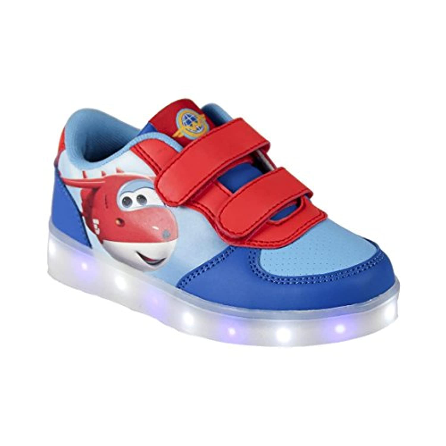 Super Wings - Boys Kids LED Light Up Fashion Sneaker Faux leather Velcro (30)