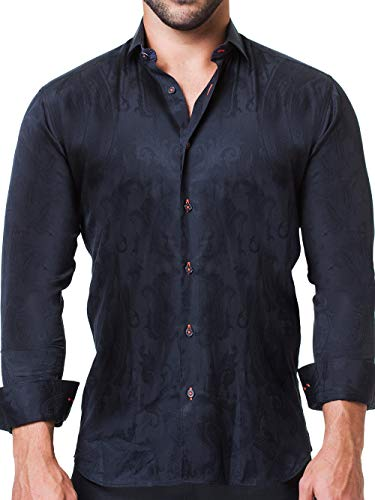 Maceoo Mens Designer Dress Shirt - Stylish & Trendy - Fibonacci Persian Grey - Tailored Fit (Dress Italian Cotton Shirt Collar)