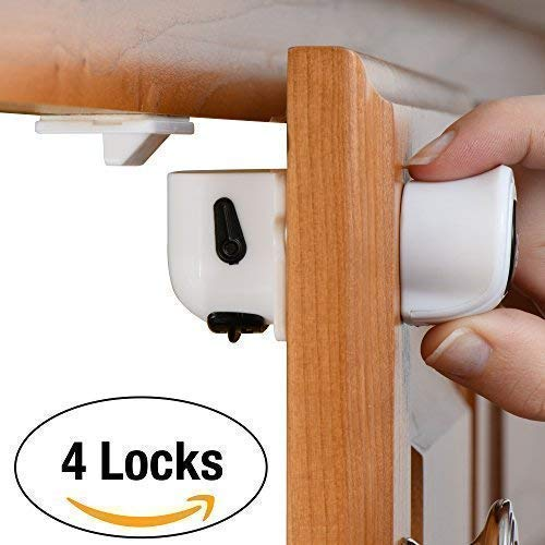 Home Solutions 4 Locks + 1 Key Baby Proof with Invisible Child Safety Locks-Super-Hold Magnetic Cabinet Locks-Easy to Install with 3M Adhesive /& Installation Guide-No Drilling-No Damage to Doors or Drawers