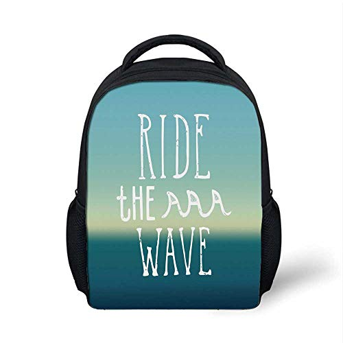(Ride The Wave Stylish Backpack,Ride the Wave Quote with Ocean Horizon Background Graphic Art for School Travel,9.4