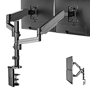 """Dual Arm Monitor Desk Mount Stand,Height Adjustable Full Motion Gas Spring Monitor Mount Riser with C Clamp/Grommet Base Fits Two 17""""-32"""" LCD LED Computer Screens up to 17.6lbs per,Black,by IMtKotW"""