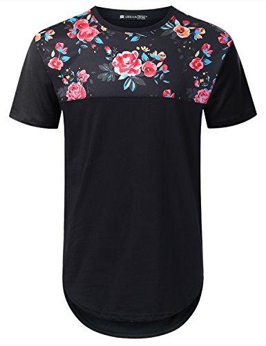 URBANTOPS Mens Hipster Hip Hop Pink Floral Panel Longline T-shirt BLACK, L by URBANTOPS