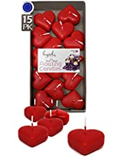 HYOOLA Premium Red Heart Floating Candles - Love Heart Candles Pack of 15 - Burn Time 2 Hours - 1.8 Inch Red Candles - Made in Europe