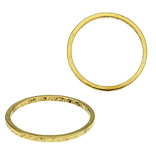 Nunn Design Ring, Hammered Thin Circle Size 6, 1 Piece, Antiqued Gold