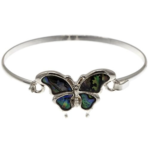 Elosee Butterfly Theme Abalone Shell Charm Wire Hook Bangle Bracelet