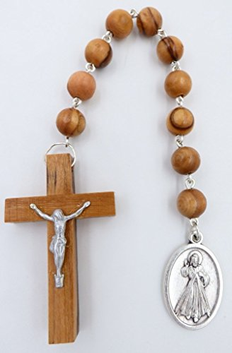 Olive Wood Chaplet (Divine Mercy Novena Chaplet - Olive Wood Catholic Pocket Rosary Beads)