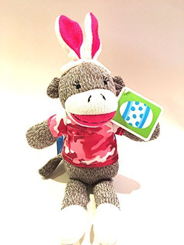 12-Dan-Dee-Camouflage-Pink-Sock-Monkey-Easter-Bunny-Stuffed-Animal-Plush-Toy