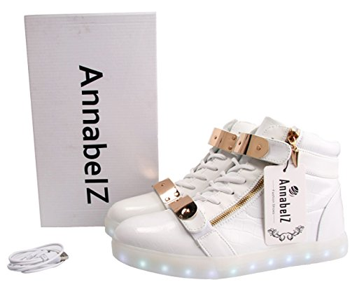 ca7356d5c556 AnnabelZ LED Shoes High Top Men Women Light Up Shoes USB Charging Metal  Velcro Flashing Sneakers - Buy Online in KSA. Apparel products in Saudi  Arabia.