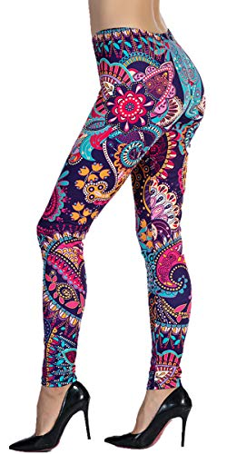 - Ndoobiy Women's Printed Leggings Full-Length Regular Size Workout Legging Pants Soft Capri L1(MDL Flower OS)
